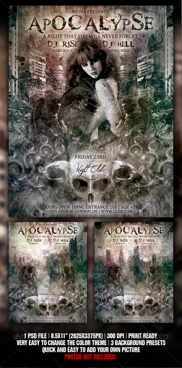 Apocalypse Night Club Party  Flyer / Poster - Clubs & Parties Events