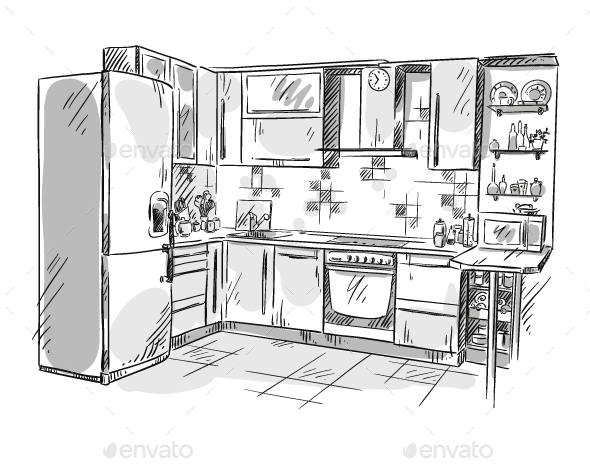 Kitchen Interior Drawing - Man-made Objects Objects