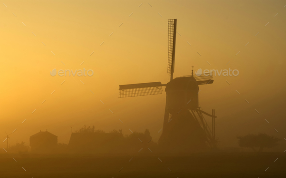 Morning Atmosphere Wingerdse mill - Stock Photo - Images