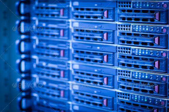 Server rack cluster in a data center (shallow DOF; color toned i - Stock Photo - Images