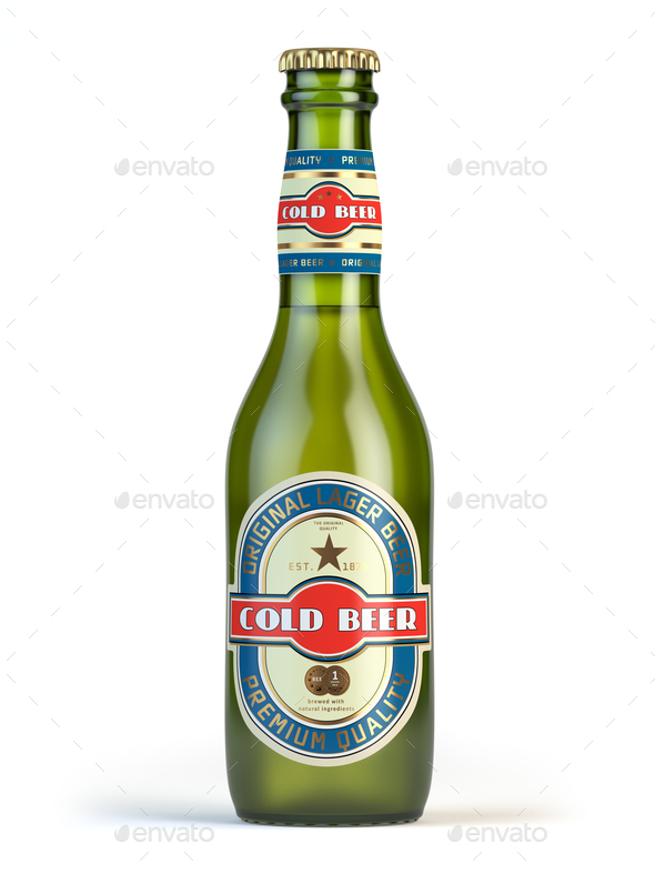 "Beer bottle with label ""cold beer"" isolated on white. - Stock Photo - Images"