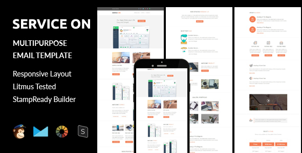 SERVICE ON – Multipurpose Responsive Email Template + Stampready Builder