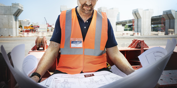 Construction Worker Planning Constractor Developer Concept - Stock Photo - Images