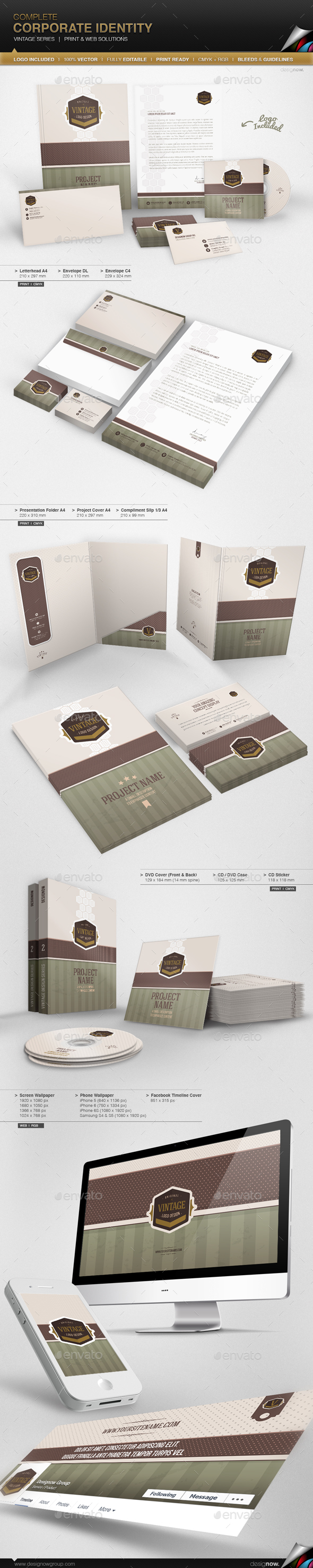 Corporate Identity - Vintage Series - Stationery Print Templates