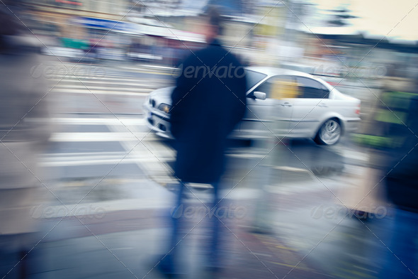 urban traffic concept - city street with busy traffic (color ton - Stock Photo - Images