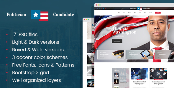 Political Candidate - Politician PSD template - Political Nonprofit
