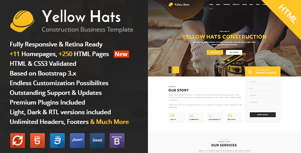 Yellow Hats - Construction, Building & Renovation HTML Template - Business Corporate