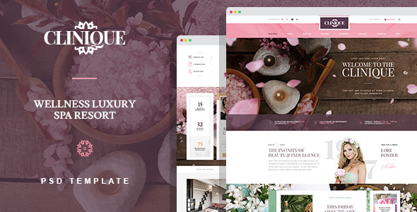 Clinique - Wellness Luxury Spa Resort PSD template - Health & Beauty Retail