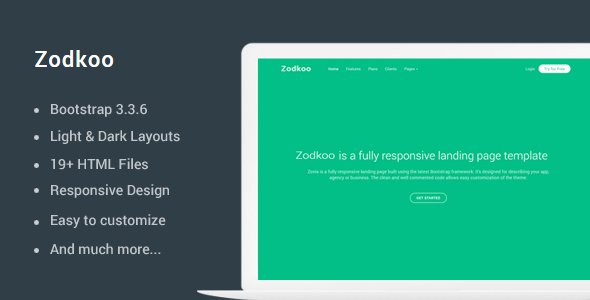 Zodkoo – Responsive Landing Page Template