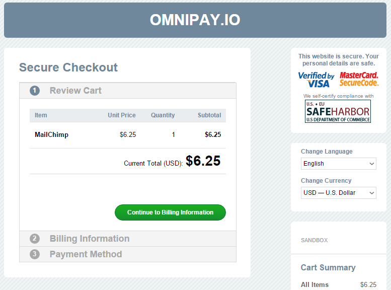 payment page template