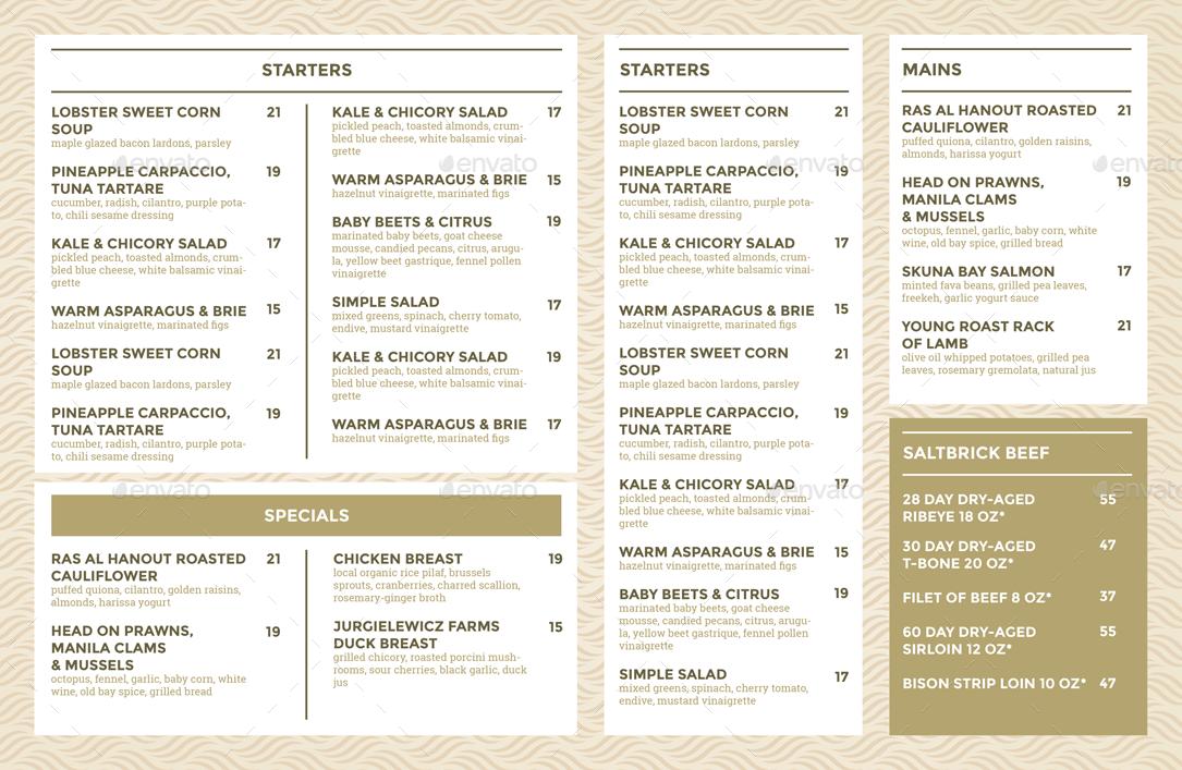 restaurant menus templates