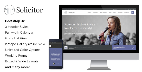 Solicitor – Law Business Responsive HTML5 Template