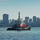 Boat Passing Near City Waterfront - VideoHive Item for Sale