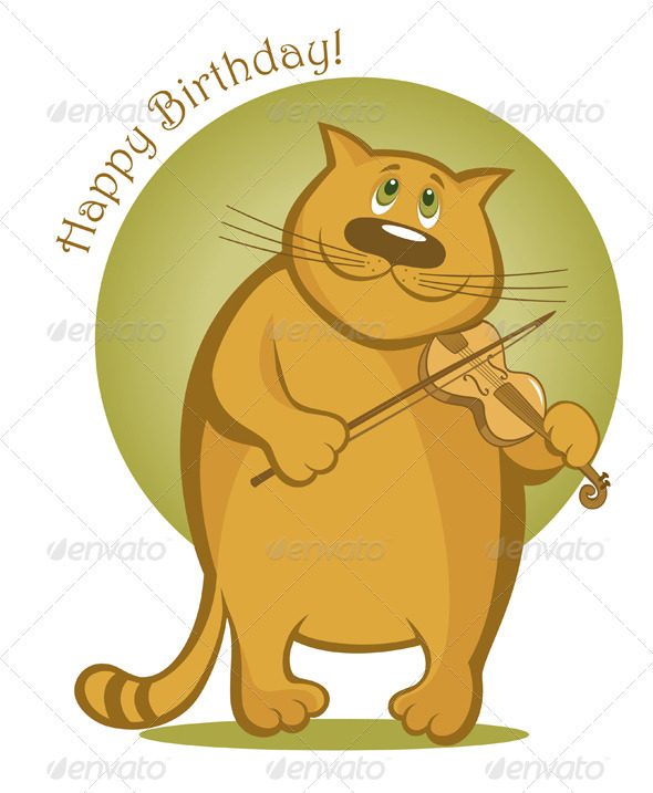 Smiling Cat Playing the Violin - Animals Characters