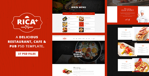 Rica Plus - A Delicious Restaurant, Cafe & Pub PSD Template - Restaurants & Cafes Entertainment