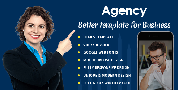 Agency – One Page Responsive Html5 Portfolio Template