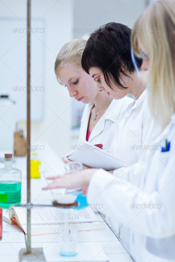 portrait of a female researcher carrying out research in a chemi - Stock Photo - Images