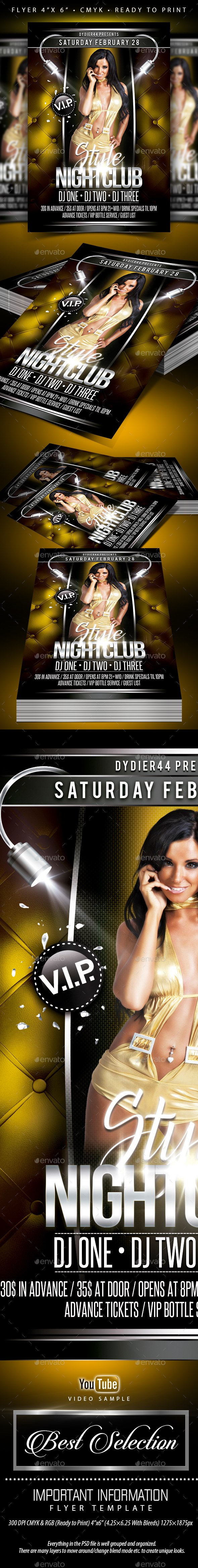 Style Nightclub (Flyer Template 4x6) - Events Flyers