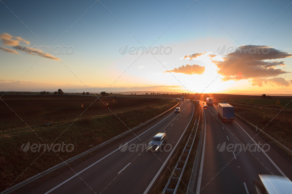 highway traffic - motion blurred truck on a highway/motorway/spe - Stock Photo - Images