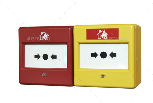 Close up of a fire alarm system - Stock Photo - Images