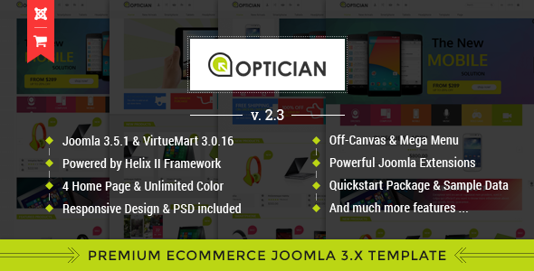Vina Optician - Premium eCommerce Joomla Template - Shopping Retail