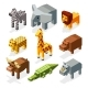 Cartoon 3D Isometric African Animals
