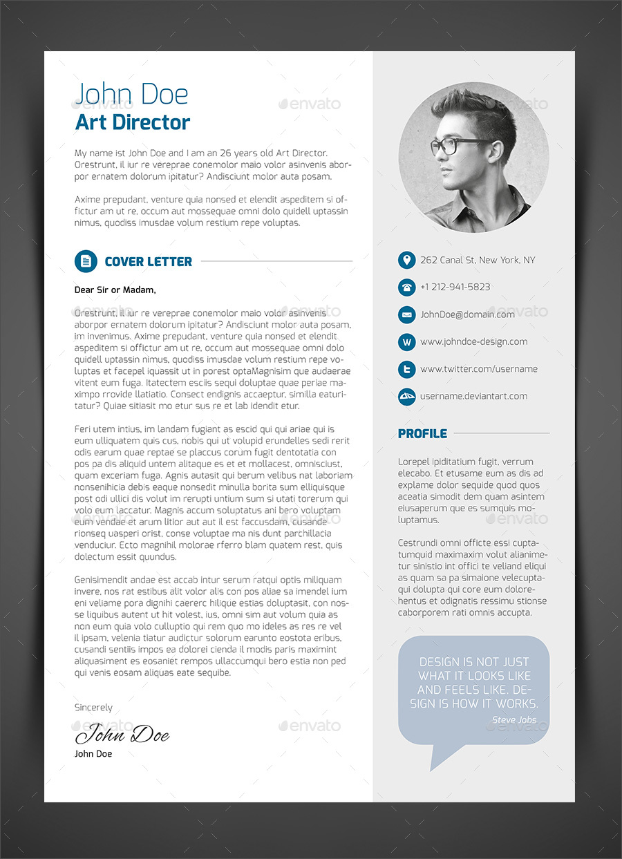 3-Piece Resume CV Cover Letter By Bullero