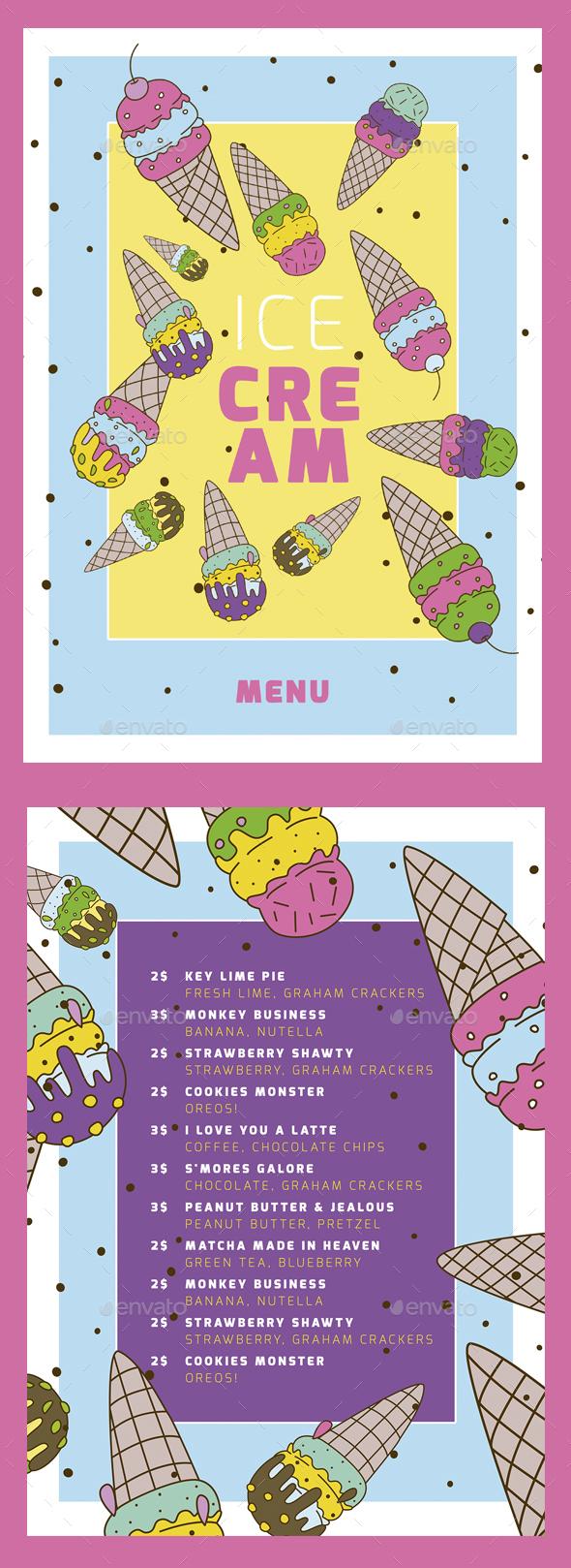 Ice Cream Menu Poster VI - Food Menus Print Templates