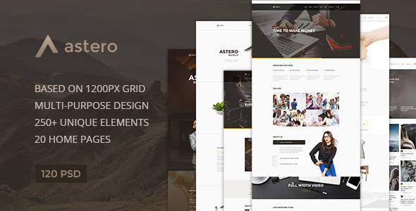 Astero — Multipurpose Portfolio | Blog | Store PSD Template - PSD Templates