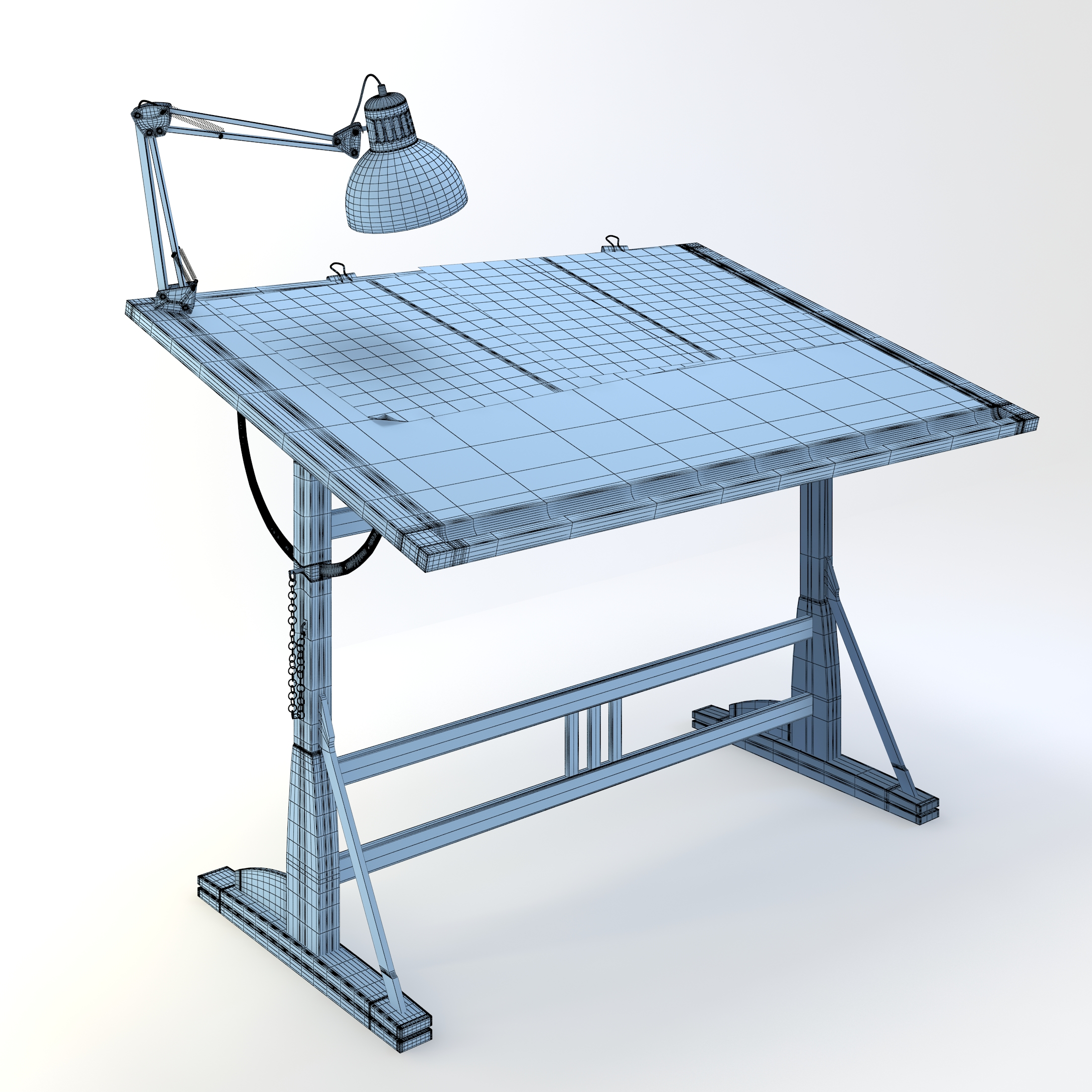 Blueprint Desk with Lamp