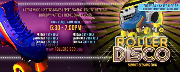 Roller Disco Flyer Template By Designroom  Graphicriver