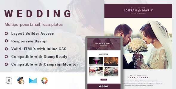 Wedding-Email Template with MailChimp and Campaign Monitor Editable + Stampready Builder