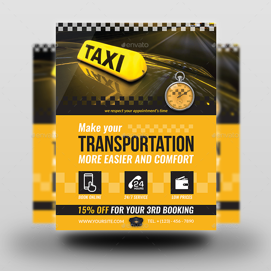 taxi service flyer template by owpictures