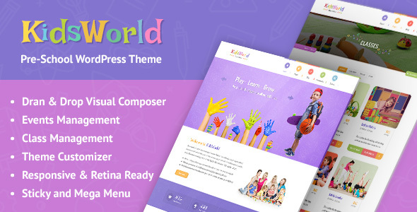 KidsWorld – Children Kindergarten WordPress Theme for Nursery, Preschool, Child Care Centers