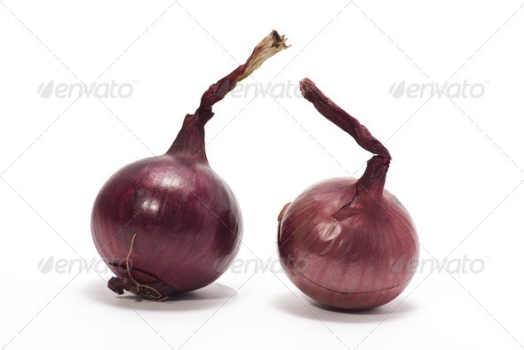 Two red onions - Stock Photo - Images