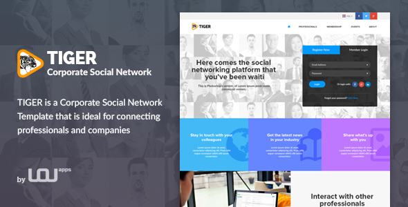 Tiger – Corporate Social Network Template