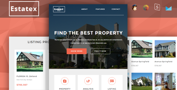 EstateX - Real Estate Property Responsive Email + StampReady Builder - Newsletters Email Templates