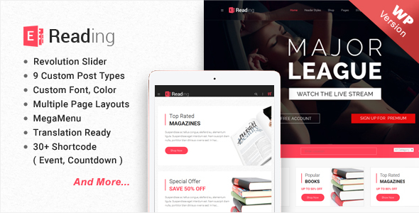 E-Reading Book Store WordPress Theme - WooCommerce eCommerce