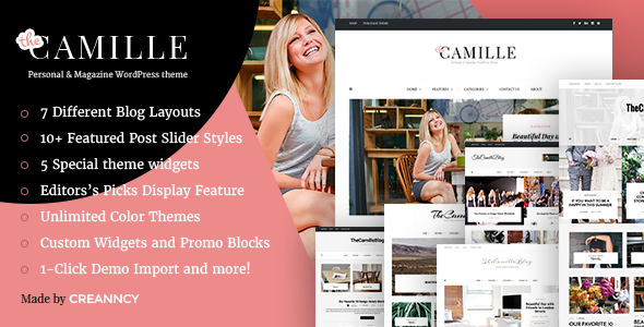 Camille – Personal & Magazine WordPress Responsive Clean Blog Theme