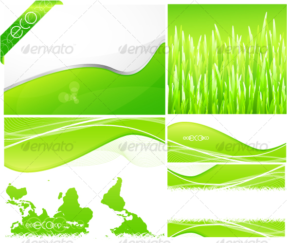 Pack of green backgrounds and designs - Backgrounds Decorative