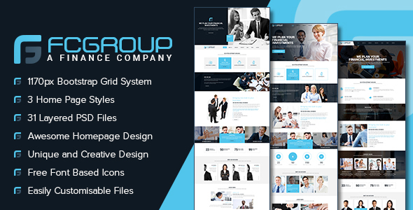 Finance Group – Multi Purpose PSD Template