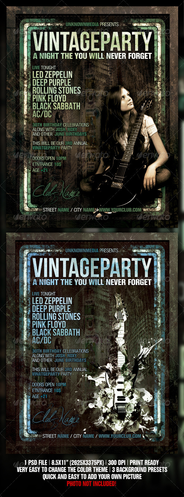 Vintage / Retro Night Club Party / Concert Flyer - Clubs & Parties Events