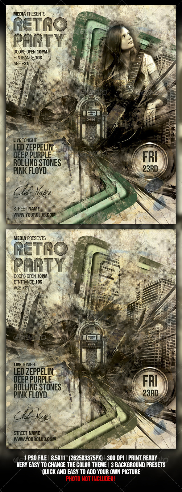 Retro / Vintage Night Club Party / Concert Flyer - Clubs & Parties Events