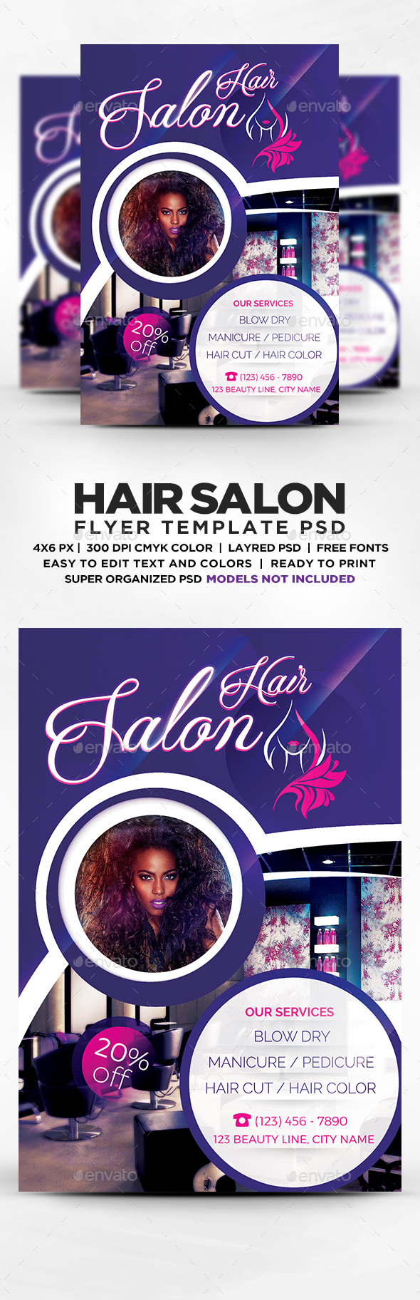 Beauty Hair Salon Flyer Template PSD