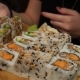 Nice  Footage Of Sushi Eating. Girl's Hands Picking Sushi - VideoHive Item for Sale