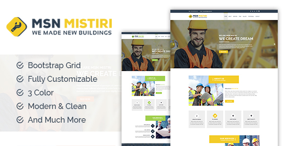 MSN Mistiri - Construction PSD Template - Business Corporate