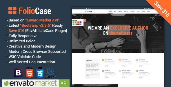 FolioCase | Multipurpose Business with Envato Portfolio & Affiliate Template