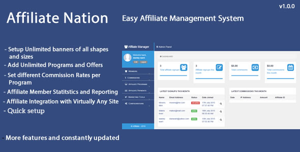 Affiliate Nation - Affiliate Management System - CodeCanyon Item for Sale