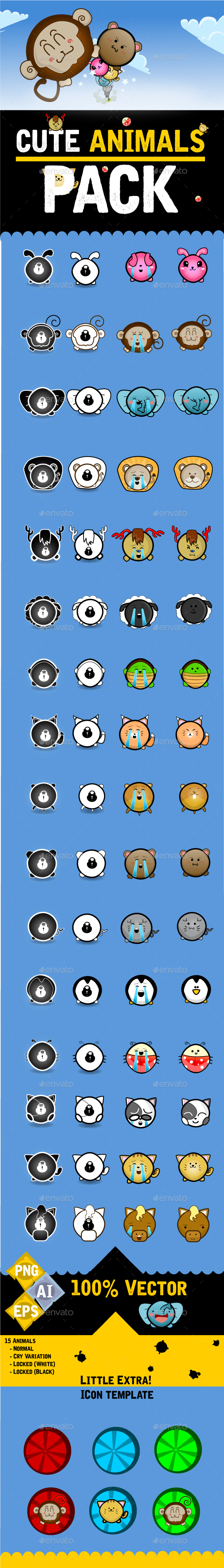 Frontside Cute Animals Pack - Sprites Game Assets