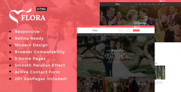 Flora – Responsive HTML Wedding Template